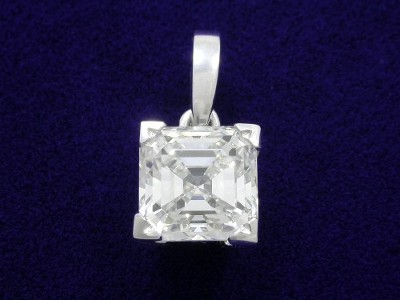Asscher Cut Pendant: 1.23 carat in Single Bail Basket Style Mounting