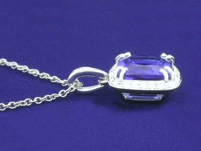 Cushion Cut Pendant: 3.15 carat Tanzanite with 1.00 ratio in 0.17 tcw pave mounting