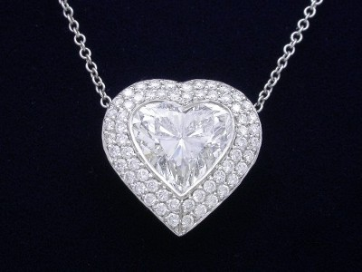 Heart Shaped Pendant: 2.10 carat with 0.55 tcw Double Row Bez Ambar Pave Mounting