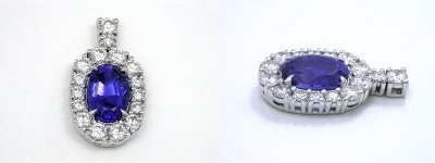 Oval Cut Pendant: 4.71 carat Tanzanite with 1.44 ratio in 2.12 tcw Prong-Set Round Diamond Mounting