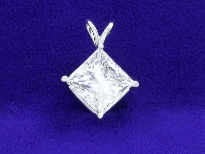 Princess Cut Pendant: 2.04 carat in 4-Prong Basket Mounting with Double Bail