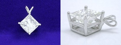 Princess Cut Pendant: 2.04 carat Diamond in 4-Prong Basket Mounting with Double Bail