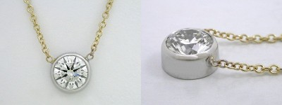 Round Cut Pendant: 0.70 carat Diamond in Bezel-Set Mounting