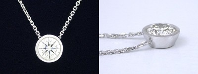 Round Cut Pendant: 0.71 carat Diamond in Bezel Set Mounting with Fixed Chain