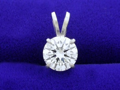 Round Brilliant Cut Pendant: 0.92 carat in 4-Prong Basket-Style Mounting with Double Bail