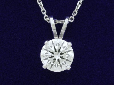Round Brilliant Cut Pendant: 1.02 carat Diamond in Prong-Set Basket-Style Mounting with Double Bail