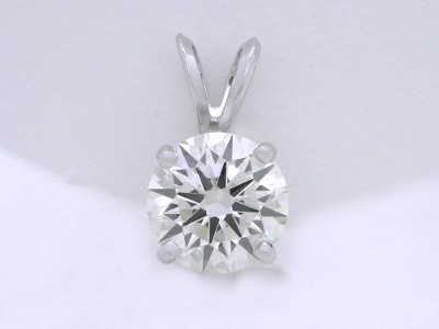 Round Brilliant Cut Pendant: 2.04 carat Diamond in Prong-Set Basket-Style Mounting with Double Bail