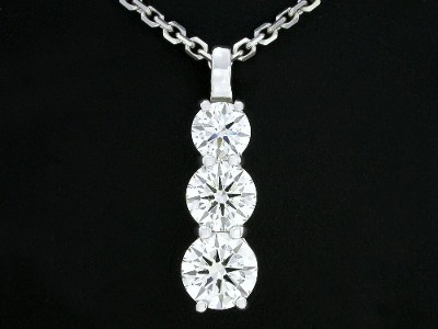 Round Cut Pendant: 2.06 tcw 3-Stone in Shared Prong Mounting with Single Bail