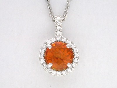 Round Cut Pendant: 2.51 carat Orange Sapphire in 0.21 tcw Pave Halo Mounting and Pave Bail