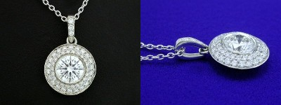 Round Cut Pendant: 0.76 carat Diamond in Bezel-Set Double Row Pave Mounting