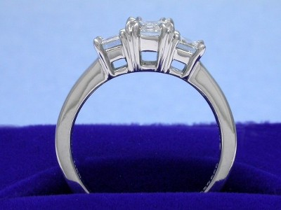 PrinceCut three-stone diamond engagement ring with platinum mounting