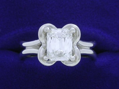 PrinceCut Diamond Ring: 1.53 carat with 1.27 ratio in Petal Halo and Split Shank Cathedral