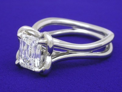 "PrinceCut solitaire diamond engagement ring with platinum contoured arched cathedral ""Petal"" style mounting"