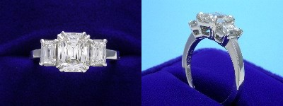 PrinceCut Diamond Ring: 1.59 carat with 1.28 ratio in 0.90 tcw PrinceCut Three-Stone Mounting