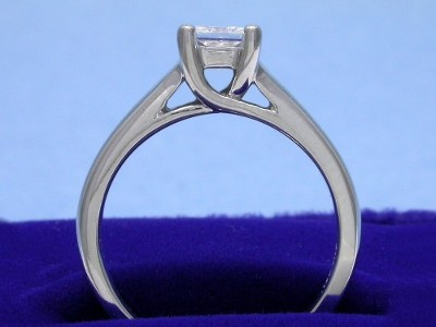 Princess diamond engagement ring with custom Trellis-style mounting