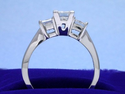 Three-stone princess cut diamond engagement ring