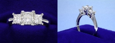 Princess Cut Diamond Ring: 0.70 carat in 0.68 tcw Princess Three Stone mounting