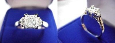 Princess Cut Diamond Ring: 0.71 carat in 0.19 tcw Half Moon Three Stone mounting