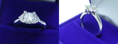 Princess Cut Diamond Ring: 0.80 carat in 0.29 tcw Half Moon Three Stone mounting
