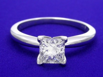 Classic Princess Cut Diamond Ring with V-Shaped Prongs to Protect the Princess Corners