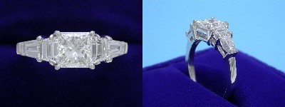 Princess Cut Diamond Ring: 1.01 carat in 0.48 tcw Trapezoid and 0.58 tcw Tapered Baguette mounting
