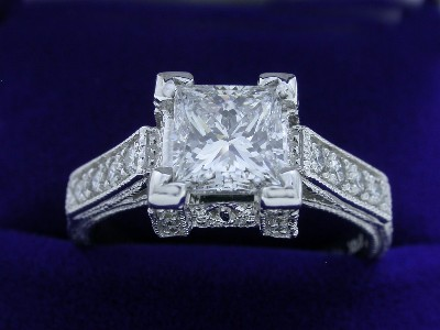 Princess Cut Diamond Ring: 1.02 carat in Milgrain style mounting