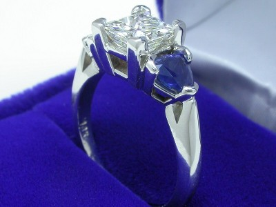 Princess Cut Diamond Ring: 1.03 carat with 0.87 tcw Blue Sapphire Trillions