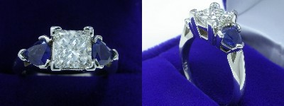 Princess Cut Diamond Ring: 1.03 carat in 0.87 tcw Blue Sapphire Trillion Three Stone mounting