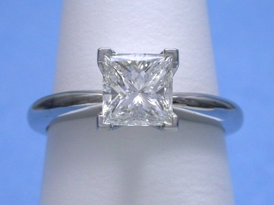 Princess Cut Diamond Ring: 1.11 carat H VVS2 in Solitaire style solitaire mounting