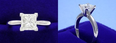 Princess Cut Diamond Ring: 1.11 carat in Solitaire style mounting