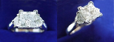 Princess Cut Diamond Ring: 1.15 carat in 0.41 tcw Half Moon Three Stone mounting