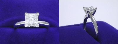 Princess Cut Diamond Ring: 1.20 carat in Solitaire style mounting