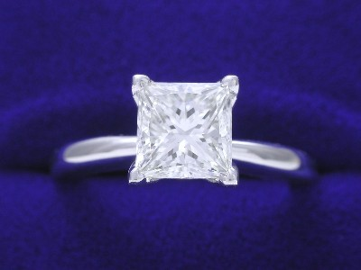 Princess Cut Diamond Ring: 1.23 carat H VS1 in Solitaire style mounting