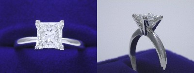 Princess Cut Diamond Ring: 1.23 carat in Solitaire style mounting