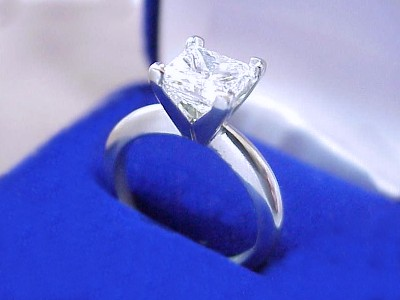 Princess Cut Diamond Ring: 1.45 carat H VS2 in Solitaire style mounting