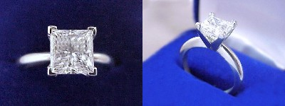 Princess Cut Diamond Ring: 1.45 carat in Solitaire style mounting
