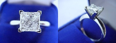 Princess Cut Diamond Ring: 1.51 carat in Solitaire style mounting