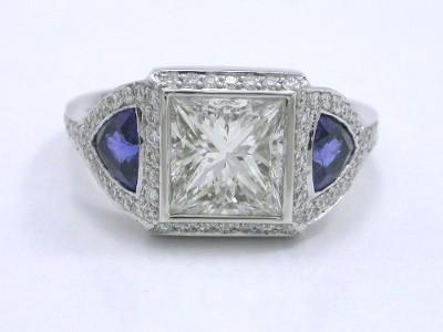 Princess Cut Diamond in Bez Ambar Designer Mounting