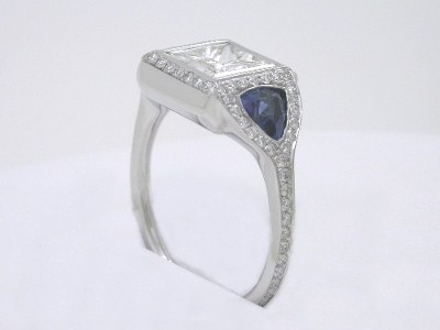Bez Ambar Designer Princess Cut Diamond Ring Mounting with Blue Sapphire Trillions and Pave-Set Diamonds