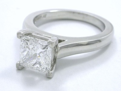 Princess Diamond Ring 1.60 ct Cathedral