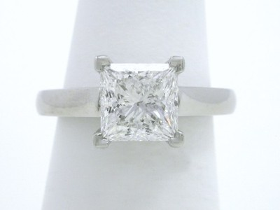 Princess Cut 1.60 F VS2 Cathedral Diamond Ring