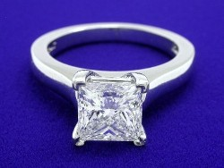 1.60 carat Princess Cut diamond gradede F color and VS2 clarity in platinum cathedral style mounting
