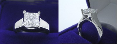Princess Cut Diamond Ring: 1.70 carat in Trellis style mounting