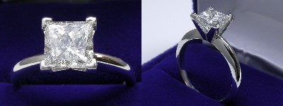 Princess Cut Diamond Ring: 1.72 carat in Solitaire style mounting