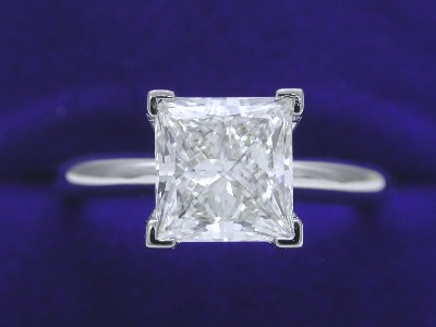 Princess Cut Diamond Ring: 2.01 carat H VS1 in Solitaire style mounting