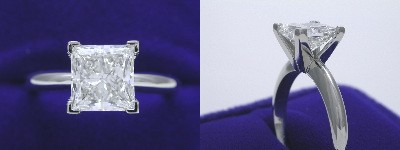 Princess Cut Diamond Ring: 2.01 carat in Solitaire style mounting