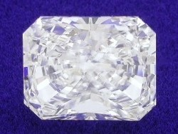 1.38 carat Radiant Cut loose diamond graded F color and VS2 clarity with 1.23 ratio.
