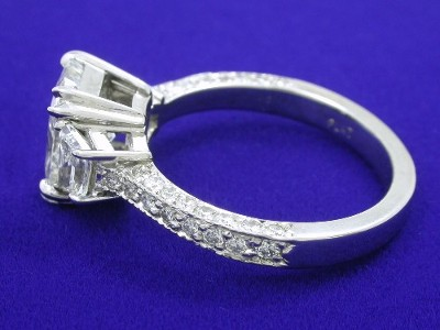 radiant and trapezoid diamond ring