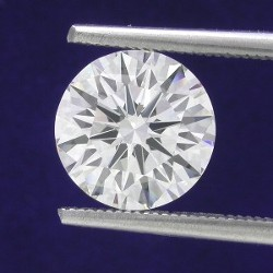 1.70 carat Round brilliant cut diamond graded H color and SIs clarity in 14-karat white-gold mounting with 6-prong head.
