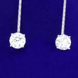 2.80 total carat weight Round Brilliant Cut diamond earrings